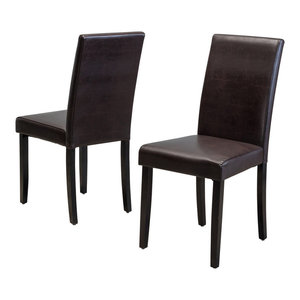 GDF Studio Esteban Brown Leather Parson Dining Chairs, Set of 2