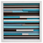 """Modern Textures - Reclaimed Wood Wall Art, 12""""x12"""" - This artwork is made entirely from upcycled wood scraps. Each piece of wood was cut at various depths and widths, painted then attached to the artwork. Rustic charm and modern colors blend beautifully to create a unique look that will spruce up any small wall or shelf space."""