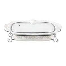 "Chic Design 15"" Rectangular Casserole With Metal Stand"