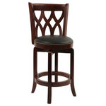 Boraam - Cathedral Counter Stool, Cherry - The Cathedral Swivel Stool from Boraam Industries, Inc. boasts a solid hardwood footrest. Boasting a 360-degree swivel mechanism, this piece has been designed with your comfort in mind. This stool also features a wooden backrest and a high-density foam seat cushion upholstered in shiny black bonded leather. Exuding a warm, luxurious feel, thanks to its rich colors and sumptuous textures, this swivel stool from Boraam Industries, Inc. makes a sophisticated addition to any interior space.