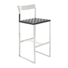 36.3-inch Tall Bar Stool Woven Italian Leather Seat Polished Stainless Steel Frame
