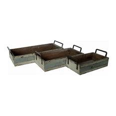 Cheungs   Rectangular Wood And Metal Storage Crates, Set Of 3   Storage Bins  And