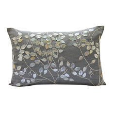 "Pearl Leaf Magic, Silver 12""x20"" Silk Lumbar Pillow Cover"