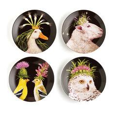 """Wild/Wooly Animal Plates, Vicki Sawyer, 7"""" Diameter, Bone China, Set of 4"""