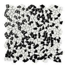 SomerTile Jazz Ceramic Mosaic Floor/Wall Tile, Case of 10, Black and White