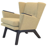"Lewis Interiors - Mid Century Modern Lounge Accent Wingback Chair Oatmeal Tan Beige, Dark Wood Ton - One of our most popular mid century modern chairs for sale, our Short Back Lounger (SBL) mid century modern lounge chair is the streamlined club-version of our famous Lewis Tall Lounger. This low back, sleek chair has the same base dimensions as our LTL mid century modern lounge chair, but it features a 11"" shorter back. This design gives your room space the retro lounge feel you're looking for.  It also looks absolutely fabulous paired with our ottoman! Don't pay for a mass manufactured, low quality mid century modern lounge chair when you can have custom, handcrafted SBL mid century modern chairs made to your exact specifications!"