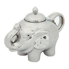 Bia Elephant Shape Blingaphant Porcelain Sugar Pot With Lid, Platinum