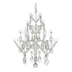 Theresa 4-Light Wrought Iron Crystal Chandelier, White