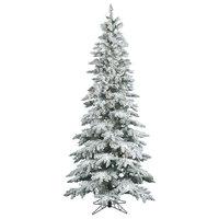 "Vickerman Slim Flocked Utica Fir Tree, 49""x9', Warm White Led Lights"