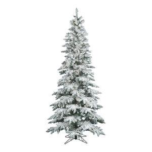 "Slim Flocked Utica Fir Tree, 65""x12', Warm White LED Lights"