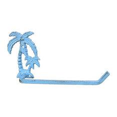 Rustic Light Blue Cast Iron Palm Tree Toilet Paper Holder 10'', Beach Bathroom