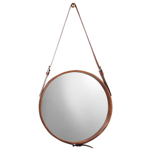 Logan Modern Classic Round Brown Leather Wall Mounted Mirror - 16D