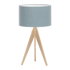 Artist Tripod Table Lamp With Wood Base, Light Blue Linen Shade