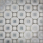 Oceanside Glass & Tile - Oceanside Glass & Tile, Devotion | Cathedral | Bewitching Blend - A classic stained glass motif, scalled and translated for your backsplash, fireplace, or bathroom. Cathedral in the Bewitching Blend adds a touch of old world glamour to your home with warm tone white and pops of Antique Mirror.