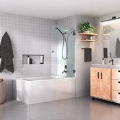 """58""""x31.5"""" Frameless Glass Bath Tub Shower Door, Wall Hung, Matte Black"""