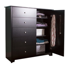 South Shore Vito Door Chest With 5-Drawer, Pure Black