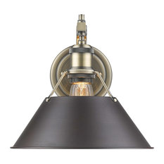 Orwell 1 Light Wall Sconce in Aged Brass