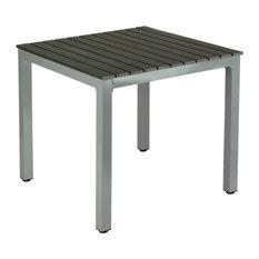 Jaxon Aluminum Outdoor Table, Poly Wood, Silver/Slate Gray