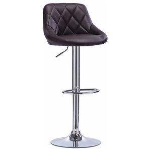 Modern Bar Stool, Faux Leather Upholstery, 360 Degrees Swivel Design, Brown