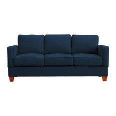 Raleigh Quick Assembly Three Seat Oak Leg Sofa, Indigo