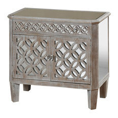 Filigree 2-Door 1-Drawer Mirrored Chest Driftwood Gray by StyleCraft Home Collection