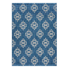 Vega Geometric Indigo Rectangle Easy-Care Indoor/Outdoor Area Rug, 6.7' x 9.6'