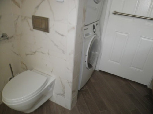 Fini Ikea Cabs Curbless Shower Porcelain Plank Floor