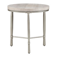 Reese Round End Table With Marble Veneer Top