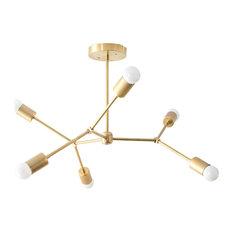 Gold Geometric Modern Brass Chandelier