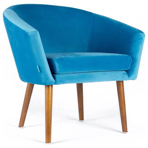 Lanster Peacock Blue Velvet Armchair
