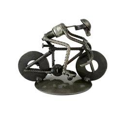 Rustic Cyclist Iron Statuette