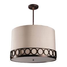 "Astoria Round Pendant, LED 120-277V, 24"", Hand-Rubbed Bronze, Beige Linen"