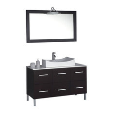 Modern Bathroom Vanity with White Basin, Espresso, 47""