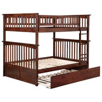 Atlantic Furniture Columbia Full over Full Bunk Bed with Trundle in Walnut