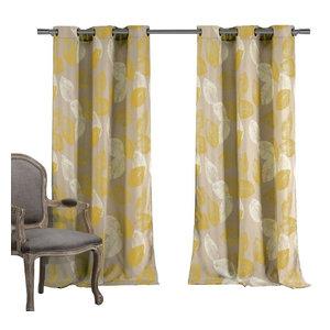 Aprile Room Darkening Window Curtain Set Yellow Gray