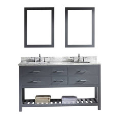 "Caroline Estate 60"" Double Bathroom Vanity Set, Gray, Double Mirror"