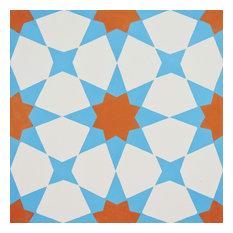 "8""x8"" Medina Handmade Cement Tile, Orange/Blue, Set of 12"