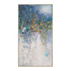 "Oversize 53"" Abstract Gold Blue White Wall Art, Lightning Metallic Modern"