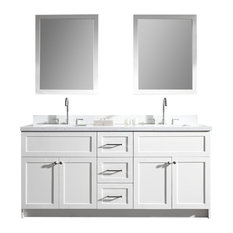 "Ariel Hamlet 73"" Double Sink Vanity Set, White Quartz Countertop, White"