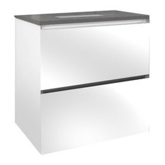 """36"""" Double Drawer Vanity, White Glass, Stone Gray Top, Integrated Light"""