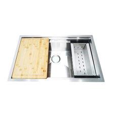 BOANN Single Basin Undermount Kitchen Sink w/sliding Cutting Board & Colander