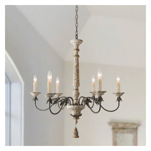 LALUZ 6-Light Shabby-Chic French Country Wooden Chandeliers Retro-white Wooden