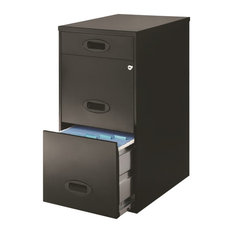 Space Solutions 3 Drawer File Cabinet with Pencil Drawer Black