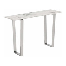 Atlas Console Table, Stone and Stainless Steel