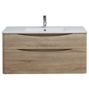 Happy Face Bathroom Vanity Unit With Drawers, Pale Wood, 100 cm
