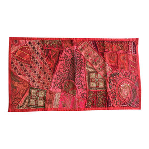 Mogul Interior - Red Runner Vintage Sari Throw Kutch Embroidered Tapestry - Tapestries