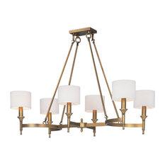 Fairmont 6-Light Chandelier, Natural Aged Brass