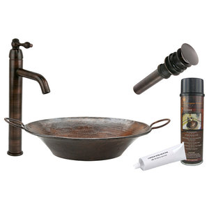 Round Miners Pan Vessel Hammered Copper Sink, Faucet and Accessories Package