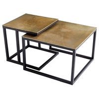 Arca Contemporary Textured Brass and Black Nesting Coffee Tables