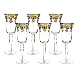 10Oz. Champagne Flutes With Gold Accented Rim 8 Inches Tall 6-Piece Gift Set